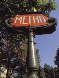 Art Nouveau Metro Sign on the Champs Elysees in Paris