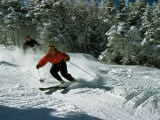Skiers Heading Downhill Cut Through Powdery Snow