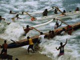 Outrigger Canoes at End of Race from Molokai to Honolulu