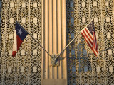 Twilight Flags State of Texas and United States  San Antonio  Texas