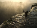 Bathing in a Swimming Hole at the Top of Victoria Falls