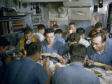 Submariners Eat Corn on the Cob  Fried Chicken  and Soup in Messroom