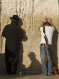 Orthodox Jew and Soldier Pray  Western Wall Jewish Qt Old City