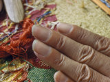 Notched Fingernails Serve as Combs for Fingernail Tapestry Weaver