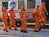 Astronauts Board the NASA Van to the Space Shuttle for Launch