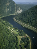 Delaware River Flows Through Kittatinny Range Near Mount Tammany