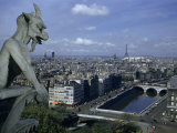 Gargoyle on Notre Dame Looks Down on a Densely Packed Cityscape