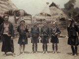 Group of Kaw Men Stand in their Village