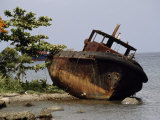Rusted Wreck of a Boat Swept Ashore During Hurricane Andrew