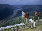 Men Stand at Scenic Overlook Above West Branch of Susquehanna River