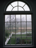 View into a Garden Through a Window on a Foggy Morning