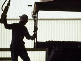 Worker in an Industrial Rail Yard