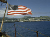 American Flag Flies on Stern of Boat Anchored Off Ponta Delgada