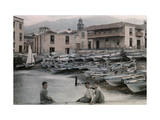 Three Boys Pose by the Island's Harbor  Where the Fishing Fleet Rests