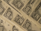 Close View of Fifty and One-Hundred Dollar Bills