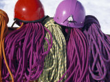 Brightly Colored Climbing Helmets and Ropes at a Base Camp in Alaska