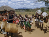 Wakamba Tribesmen and Women Dance to the Beat of Large Drums