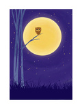 Owl on Branch with Full Moon Reproduction d'art