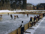 Students Play Ice Hockey on Frozen Pond on Private School's Campus