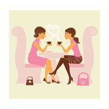 Girlfriends Talk over Coffee
