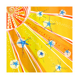 Brightly Colored Sun and Stars