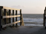 Wooden Walkway Leads to a Sunset View on a California Pacific Beach