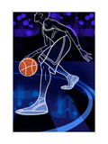 Basketball Player on Blue