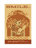 Smiling Squirrel on Bike