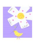 Yellow Bird with White Flower