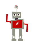 Robot with Red Lightning Reproduction d'art