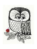 Retro Black and White Owl with Ladybug Reproduction d'art