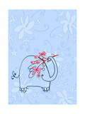 Elephant with Flower Stem