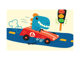 Blue T-Rex in Red Racecar Reproduction d'art