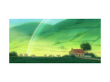 Landscape of Cottage and Rainbow
