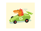 Orange Dino in Green Racecar