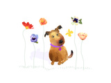 Dog with Butterfly and Flowers