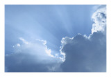 Sky with Rays of Sun and Clouds