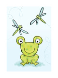 Polka Dot Green Frog with Dragonflies