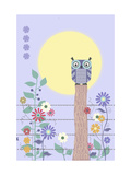 Owl on Fence and Moon with Flowers