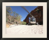 Helicopter on Sand at Bullo River Station  Near Kununurra  Northern Territory  Australia