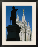 Brigham Young Statue Frames the Jesus Christ Latter Day Saints Church