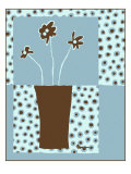 Blue & Brown Minimalist Floral I
