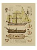 Antique Ship Plan II Reproduction d'art par Vision Studio