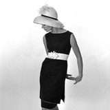 Black Sleeveless Dress with White Belt  1960s