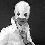 White Patent Leather Helmet with Eye Holes  1960s