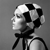 Black and White Checked Bonnet  1960s