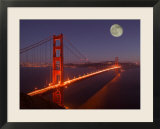 Moonrise above the Golden Gate Bridge  Marin  California