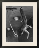 Intercollegiate Champion Gymnast Newt Loken on Flying Rings Doing Reverse Flyaway with Half Twist