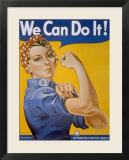 "WWII Patriotic ""We Can Do It"" Poster by J Howard Miller Featuring Woman Factory Workers"