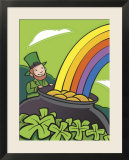 Irish Leprechaun with Pot of Gold by Rainbow